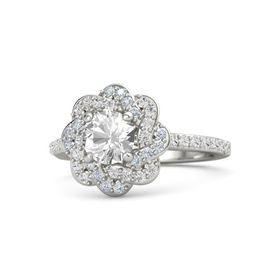 Round Rock Crystal Platinum Ring with White Sapphire and Diamond