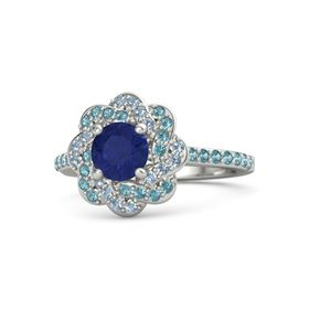 Round Blue Sapphire Platinum Ring with London Blue Topaz and Blue Topaz