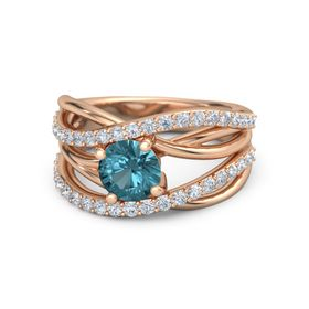 Round London Blue Topaz 14K Rose Gold Ring with Diamond
