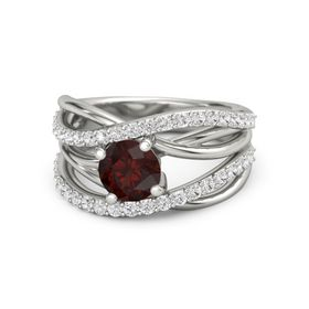 Round Red Garnet 14K White Gold Ring with White Sapphire