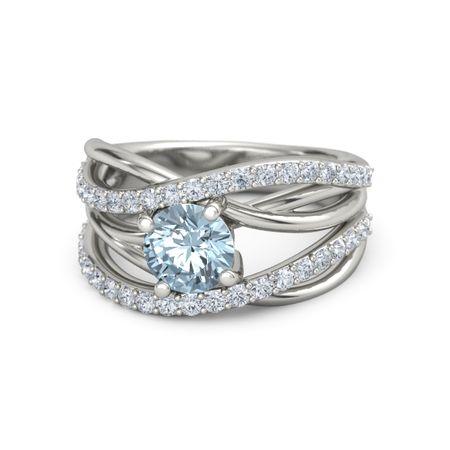 Round Aquamarine 14K White Gold Ring with Diamond | Wrap ...