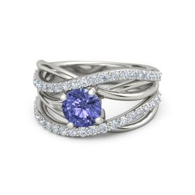 Round Tanzanite 14K White Gold Ring with Diamond