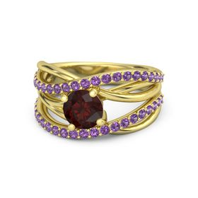 Round Red Garnet 14K Yellow Gold Ring with Amethyst