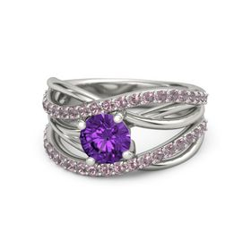 Round Amethyst 18K White Gold Ring with Rhodolite Garnet