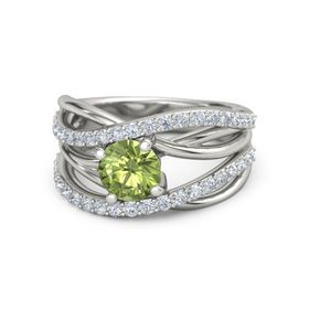 Round Peridot 18K White Gold Ring with Diamond