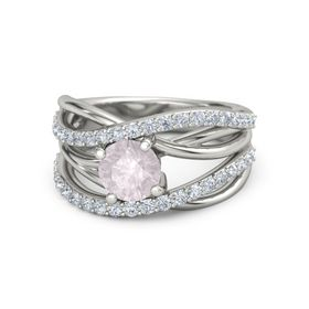 Round Rose Quartz Palladium Ring with Diamond