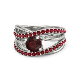 Round Red Garnet Platinum Ring with Ruby