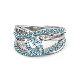 Round Aquamarine Sterling Silver Ring with London Blue Topaz