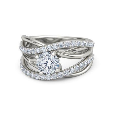 Round Diamond 14K White Gold Ring with Diamond | Wrap ...
