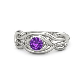 Round Amethyst 18K White Gold Ring