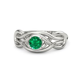 Round Emerald 18K White Gold Ring