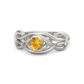 Round Citrine 18K White Gold Ring