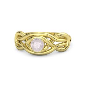 Round Rose Quartz 18K Yellow Gold Ring