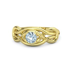 Round Aquamarine 18K Yellow Gold Ring