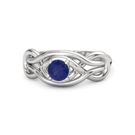 Round Sapphire Sterling Silver Ring
