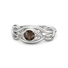 Round Smoky Quartz Sterling Silver Ring