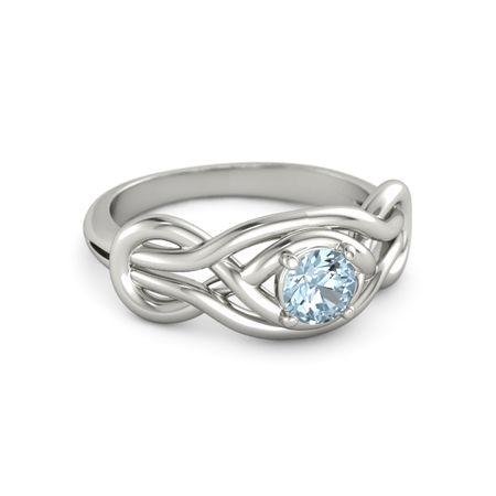 Round Aquamarine Platinum Ring | Everlasting Knot Ring ...
