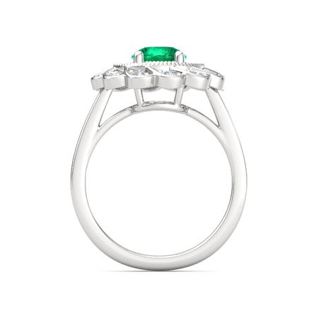3a80dd7a2 Round Emerald Sterling Silver Ring with Diamond | Sunflower Ring ...