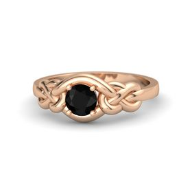 Round Black Onyx 14K Rose Gold Ring