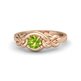 Round Peridot 14K Rose Gold Ring