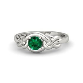 Round Emerald 14K White Gold Ring