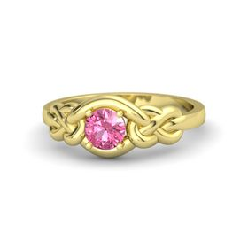 Round Pink Tourmaline 14K Yellow Gold Ring