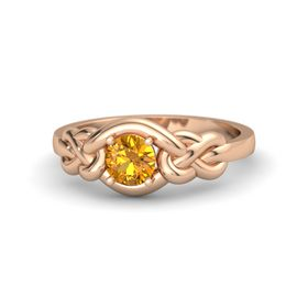 Round Citrine 18K Rose Gold Ring
