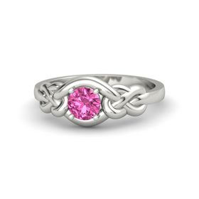 Round Pink Sapphire 18K White Gold Ring