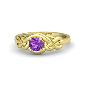 Round Amethyst 18K Yellow Gold Ring