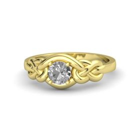 Round Rock Crystal 18K Yellow Gold Ring