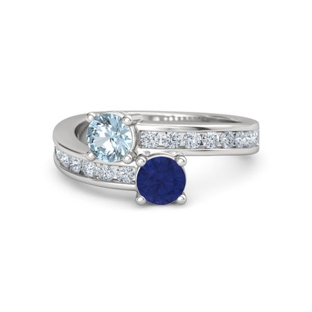 c5e0dfa655d94 Darling Duo Ring - Round Blue Sapphire Sterling Silver Ring with Aquamarine  and Diamond