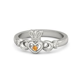Round Citrine 14K White Gold Ring