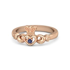 Round Sapphire 18K Rose Gold Ring