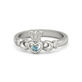 Round London Blue Topaz 18K White Gold Ring