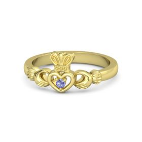 Round Iolite 18K Yellow Gold Ring