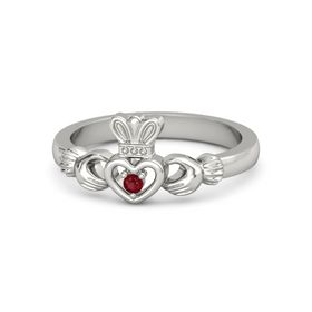 Round Ruby Palladium Ring
