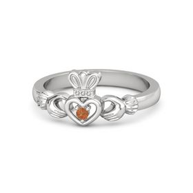 Round Fire Opal Sterling Silver Ring