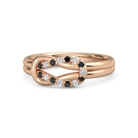 14K Rose Gold Ring with Black Diamond and White Sapphire