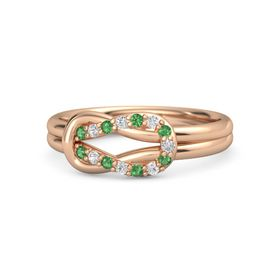 14K Rose Gold Ring with Emerald & White Sapphire