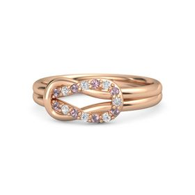 14K Rose Gold Ring with Rhodolite Garnet and White Sapphire