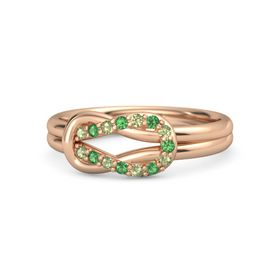 14K Rose Gold Ring with Peridot and Emerald