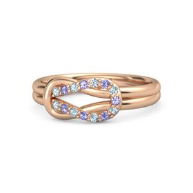 14K Rose Gold Ring with Aquamarine and Iolite