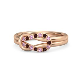 14K Rose Gold Ring with Pink Tourmaline and Red Garnet