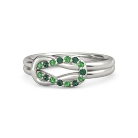 14K White Gold Ring with Emerald and Alexandrite