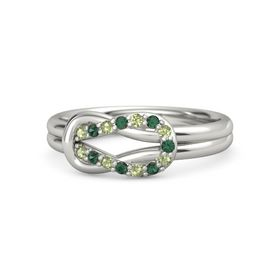 14K White Gold Ring with Peridot and Alexandrite