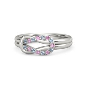 14K White Gold Ring with Blue Topaz and Pink Tourmaline