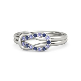 14K White Gold Ring with Iolite & Sapphire