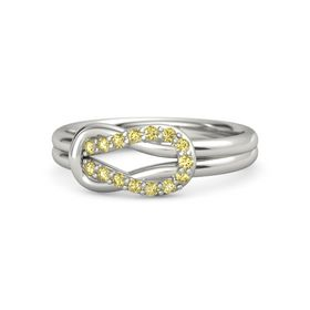 14K White Gold Ring with Yellow Sapphire