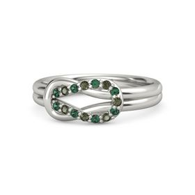 14K White Gold Ring with Alexandrite and Green Tourmaline