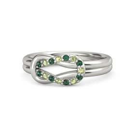 14K White Gold Ring with Alexandrite and Peridot